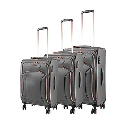 Hadley - Juego de equipaje suave de 4 W (3 piezas, peso ligero, 4 ruedas giratorias), gris, o,