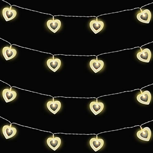 20 LED Light Wooden Heart Fairy String Light 10 Feet Valentine's Day Heart Shaped String Light Battery Operated String Led Light for Valentine's Day Wedding Garden Birthday Party Indoor Outdoor