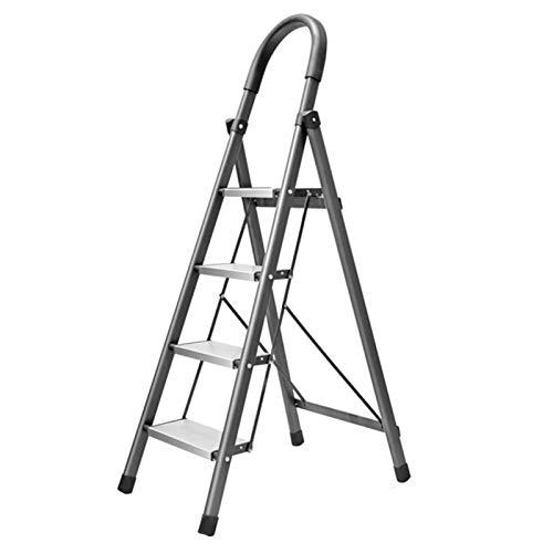 WHOJA Escalera De Acero de 4 Escalones Una Escalera Tipo Pedal Ancho Antideslizante Escalera Interior Plegable portátil Seguridad de Carga de 150 kg Ligera y Resistente