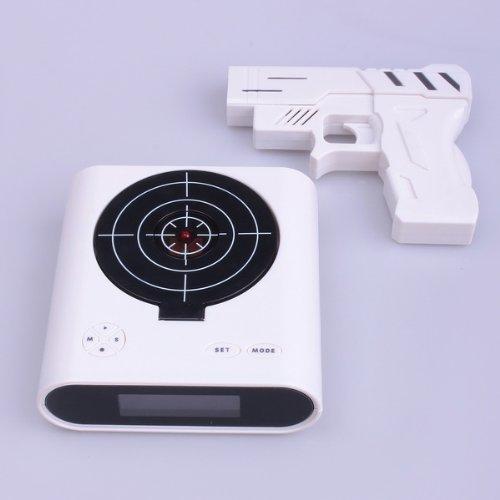 Pistola láser reloj despertador con pantalla LCD de pantalla