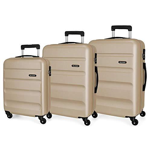 Roll Road Flex Set valigie Beige 54/64/74 cms Rigida ABS Chiusura a combinazione numerica 182L 4 Ruote Bagaglio a mano