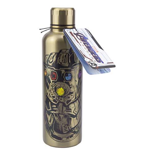 Marvel Avengers: Endgame Trinkflasche aus Edelstahl goldfarben, bedruckt, aus Edelstahl, Füllmenge ca. 500 ml.