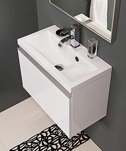 Quentis Badmöbelset Faros, Breite 60/ Tiefe 31 cm, Waschbecken und Unterschrank, weiß glänzend, Unterschrank montiert