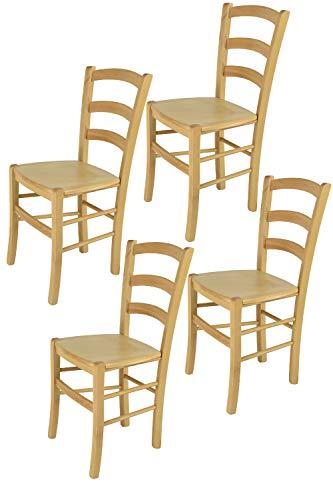 Tommychairs - Set 4 sillas Venice para Cocina y Comedor, Estructura en Madera de Haya Color Natural y Asiento en Madera