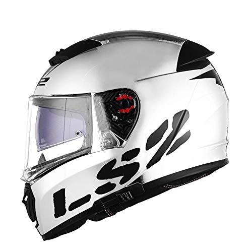 Casque moto hommes et femmes double casque casque racing casque anti-buée locomotive (taille : Xl(57-58cm))
