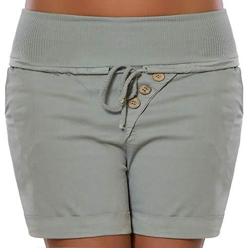 TEELONG Shorts Damen Mode Sommer Hot Pants Capri Shorts Hohe Taille Verband Hosen Hosen Badeshorts Chinoshorts Cargoshorts Jeansshorts Sweatshorts Hosen(XL, Grau)