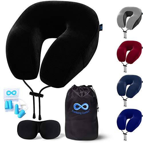 Everlasting Comfort Memory Foam Travel Pillow - Includes Eye Masks and Earplugs - Neck Pillow for...