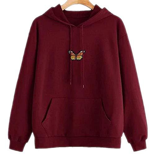 Sudadera con capucha de conejo para mujer, primavera, otoño e invierno, sudadera, abrigo con capucha, abrigo de Kawaii con estampado de dibujos animados Y-rouge XXL
