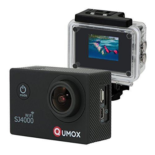 QUMOX WiFi Actioncam SJ4000 Action Sport Kamera Camera Waterproof Full HD 1080p Video Helmkamera Schwarz mit Verbesserten Batterien und Zubehör Kits und Wasserdichtes Gehäuse