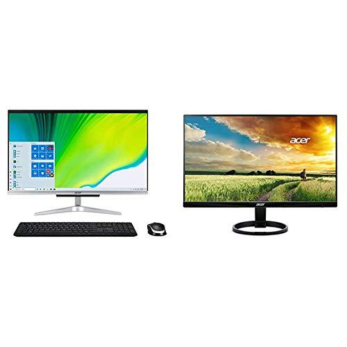 "Acer Aspire C24-963-UA91 AIO Desktop, 23.8"" Full HD Display, 10th Gen Intel Core i3-1005G1, Wireless Keyboard and Mouse, Windows 10 Home with R240HY bidx 23.8-Inch IPS HDMI DVI VGA"