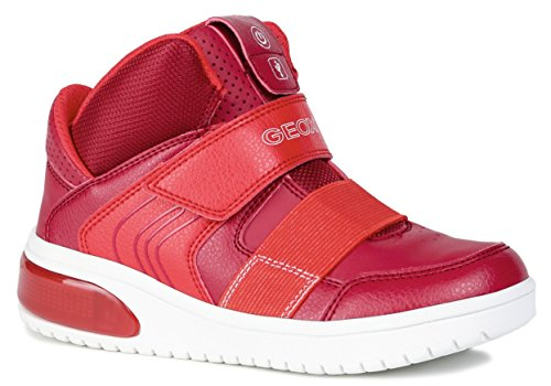 Geox XLED J847QA Jungen High-Top Sneaker,Kinder Stiefel,Sportschuh,Klettschuh,Sneaker-Stiefel,mid Cut, Doppelklett-Verschluss,Blinklicht,LED,Licht,RED,EU 39