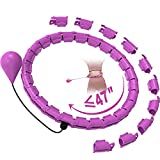 Smart Weighted Hoola Hoop Plus Size for Adults Weight Loss,2 in 1 Waist Fitness Exercise Hula Hoola Hoops, 24 Knots Detachable & Size Adjustable,with Ball Auto Rotate 360 Degree for Kids and Women