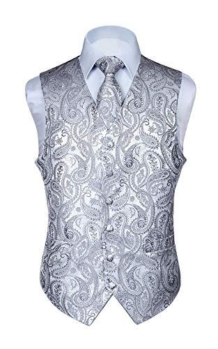 Hisdern Manner Paisley Floral Jacquard Weste & Krawatte und Einstecktuch Weste Anzug Set, Grau, Gr.-XL (Brust 48 Zoll)