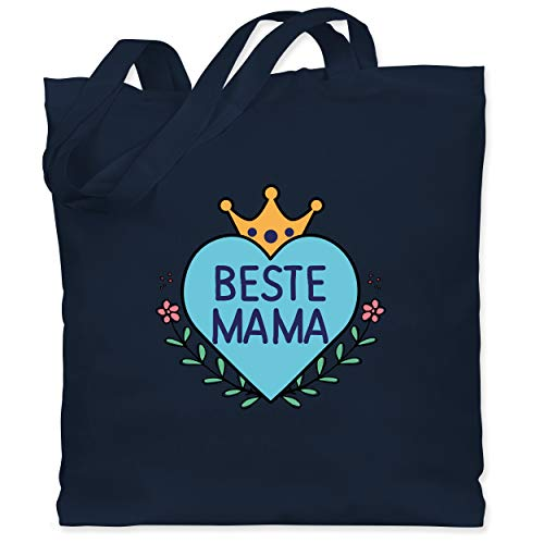 Shirtracer Muttertagsgeschenk - Beste Mama Herz mit Krone Blau - Unisize - Navy Blau - XT600_Jutebeutel_lang - WM101 - Stoffbeutel aus Baumwolle Jutebeutel lange Henkel