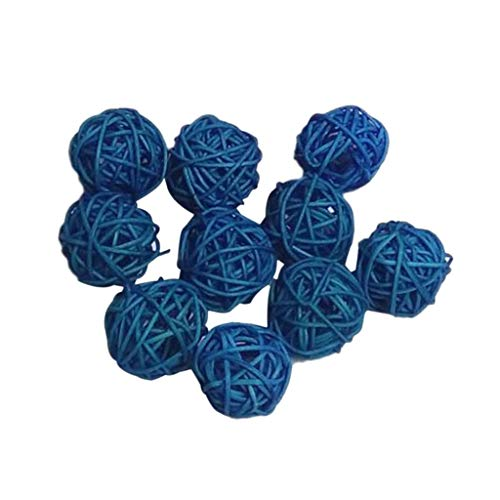 Iwinna A Pack of 10 Pieces Large Wicker Rattan Balls - Decorative Balls for Bowls, Vase Filler, Coffee Table Decor, Wedding Party Decoration,30mm - Blue