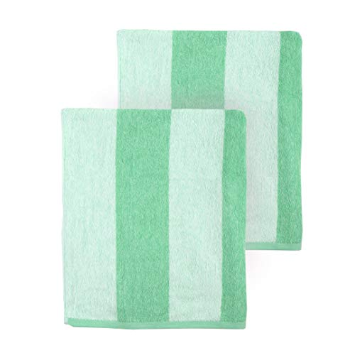 Arkwright Clearwater Cabana Striped Oversized Beach Towel - Pack of 2 (30 x 70 inch, Green)