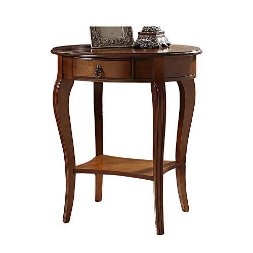 Axdwfd bijzettafel 1 lade eiken bank bijzettafel volledig gemonteerd, massief hout nachtkastje, koffietafel, opbergtafel -bruin