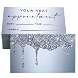 RXBC2011 Appointment Reminder Cards Bling Glitter Drips for Beauty Makeup Hair Nail Salon Barber Shop Restaurants Therapist Pack of 100 Silver