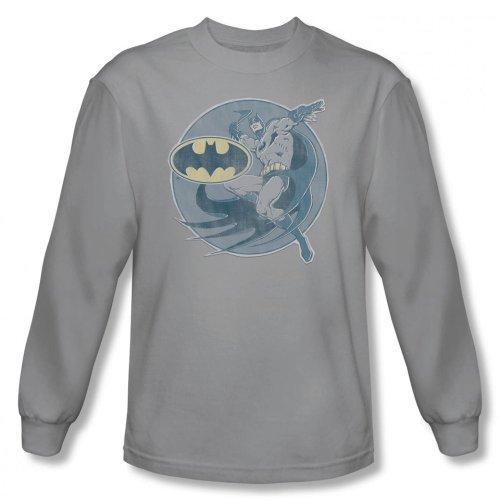 DC Comics–Hombre Retro Batman Hierro en Manga Larga en Color Plata