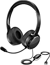 PC Headset, USB Headset & 3.5mm Headset with Mute, Lightweight Computer Headphone Wired, Gaming VOIP Skype Office Chat Headset in-line Control for PC Mobile Phone (Built-in Noise Reduction Sound Card)