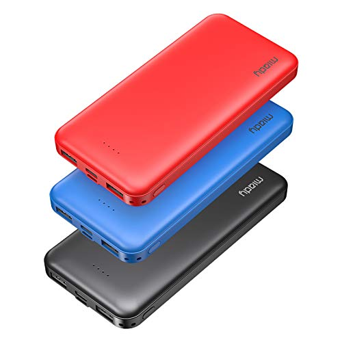 3-Pack Miady 10000mAh Dual USB Portable Charger, Fast Charging Power Bank with USB C Input, Backup Charger for iPhone X, Galaxy S9, Pixel 3 and etc (Red, Blue & Black)