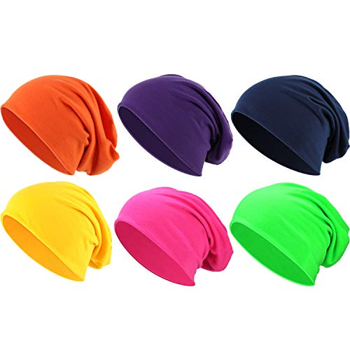 Outus 6 Pieces Thin Knit Slouchy Beanies Cap Cotton Chemo Sleep Cap Dwarf Hat for Women Men (Multi-Color)