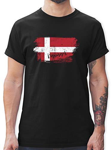 Handball WM 2019 - Dänemark Vintage - S - Schwarz - Tshirt dänemark - L190 - Tshirt Herren und Männer T-Shirts