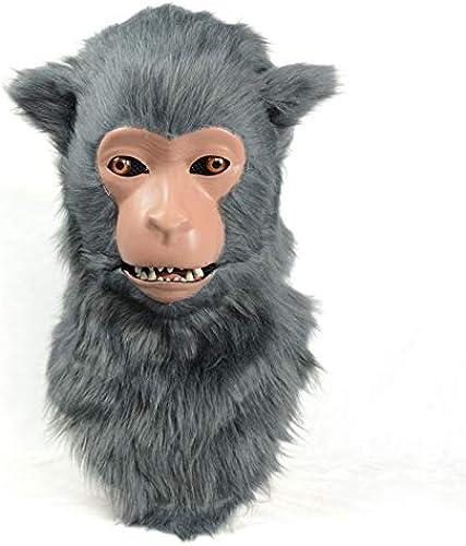 JUJIANFU-Masks Speciale Masque Animal Mobile De Simulation De Macaque De Masque De Bouche Mobile Fait à La Main Réaliste Fadish De HalFaibleeen La Bouche Peut bouger ( Couleur   gris , Taille   2525 )
