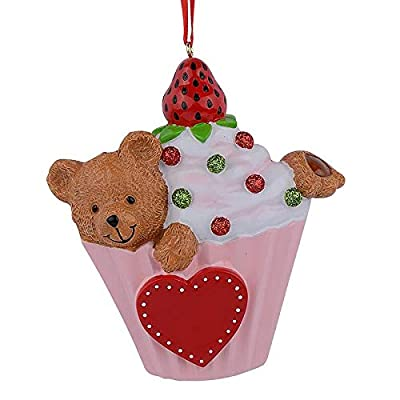 Cupcake Christmas Ornament in pink liner with teddy bear in the frosting