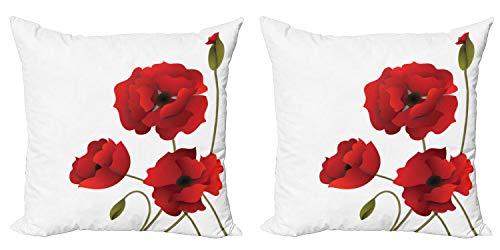 ABAKUHAUS Floral Set de 2 Fundas para Cojín, Amapola Arte de Las Flores Pastoral, con Estampado en Ambos Lados con Cremallera, 40 cm x 40 cm, Rojo y Verde