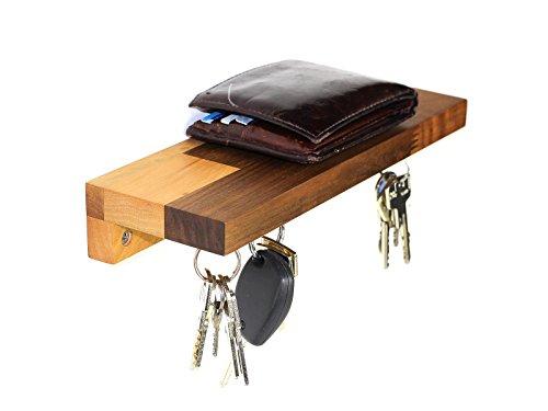Schlüsselbrett Magneto 206 Holz | Magnetschlüsselbrett mit Ablage | Schlüsselleiste Nussbaum mit 6 Magneten | inkl. Schrauben und Dübel