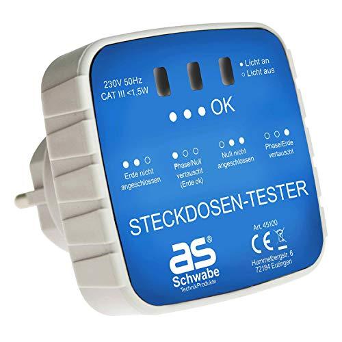as - Schwabe Anschluss-Prüfstecker – Diagnose-Stecker mit Kontrollleuchten-Anzeige – Kontrolle von korrekten Verdrahtungen in Schutzkontaktsteckdosen 230 V – Stromkreis-Prüfgerät – Weiß I 45100