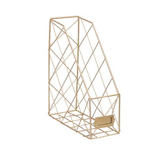 Tomaibaby - Portadocumentos de metal nórdico, organizador de revistas, libros, soporte, estantería y caja de almacenamiento de escritorio para la casa de la oficina (dorado)