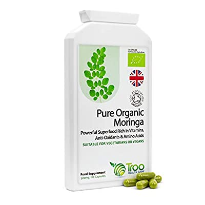 Troo Health Care Organic Moringa Oleifera Superfood Supplement - 500mg 120 Capsules - No Fillers – Rich in Vitamins & Amino Acids - Suitable for Vegans - UK Manufactured to GMP Standards
