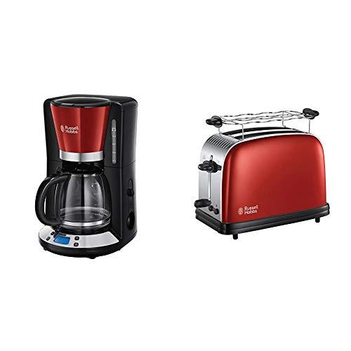 Russell Hobbs Colours Plus - Cafetera de Goteo (Jarra Cafetera para 15 Tazas, 1000 W, Negro y Rojo) - ref. 24031-56 + Hobbs 23330-56 Colours Plus Tostadora, 1670 W, INOX, 2 Ranuras, Rojo