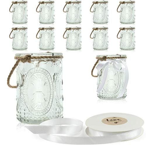 WeddingTree 12 x Windlicht Glas mit Bügel und Dekoband weiß Romantik groß - Teelichtgläser - 9 cm hoch - Einfach Abnehmbarer Metallbügel - Deko für Hochzeit