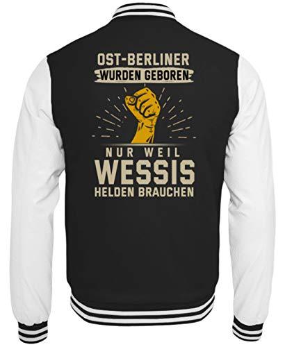PlimPlom Ost-Berlin Jacke Ostberliner Collegejacke Mit Spruch Für Damen Und Herren Baseball Jacke - College Sweatjacke -XXL-Schwarz-Weiss