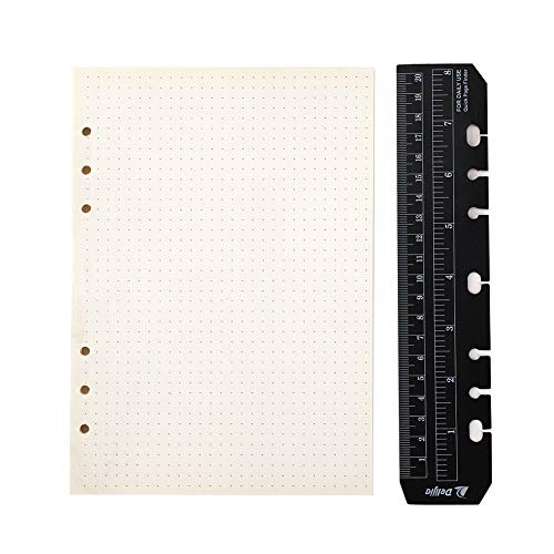 YHH A5 Notizbuch Refill Dot/Dotted 6 Löcher, mit Lineal Ringbuch Einlagen Punktiert/Gepunktet Papier Seiten für Nachfüllung 6-Ring Binder Planer Tagebuch Einsätze Journal Mappe Elfenbein weiß