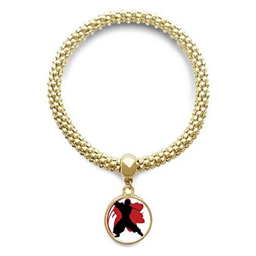 DIYthinker Cadena de joyería Bushido Samurai Katana Sakura Silueta Japón Pulsera de Oro Pendiente Redondo