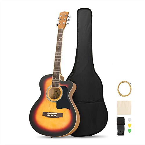 MATICO 39 Inch 6 Strings Acoustic Guitar Student Pack, Handmade Cutaway Basswood Guitar Starter Kit with Accessories, Matte Sunburst