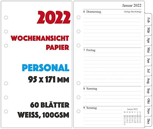 2022 Wochenplaner Einlage Personal A6-1 Woche auf 2 Seiten mit Tabs - 9,5x17,1cm
