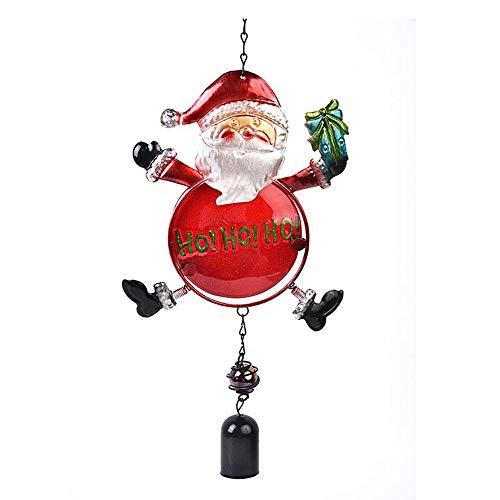 æ - Carillones de viento de Navidad, cristal manchado, alce de muñeco de nieve con campana, árbol de Navidad colgante para decoración de la boda