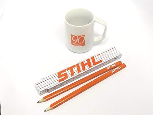 Stihl Zollstock, 2 Stück Zimmermannsbleistifte, Tasse weiss mit oranger Schrift