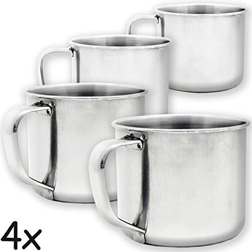 Outdoor Saxx® - 4X rustieke outdoor beker espresso beker, metalen beker, mini kopje voor koffie, voor koken op stove, grill, kampvuur, koker, koker, 100 ml, set van 4