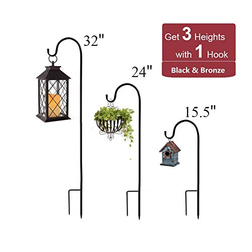 ExcMark Shepherds Hook 32 inch High Use at Weddings, Hanging Flower Baskets, Solar Lights, Lanterns, Bird Feeders, Metal Hanger Hook Steel Hook(2 Pack, Black)