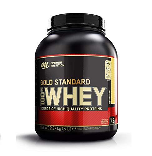 Optimum Nutrition ON Gold Standard 100% Whey Proteína en Polvo Suplementos Deportivos, Glutamina y Aminoacidos, BCAA, Crema de Plátano, 73 porciones, 2.27 kg, Embalaje puede variar