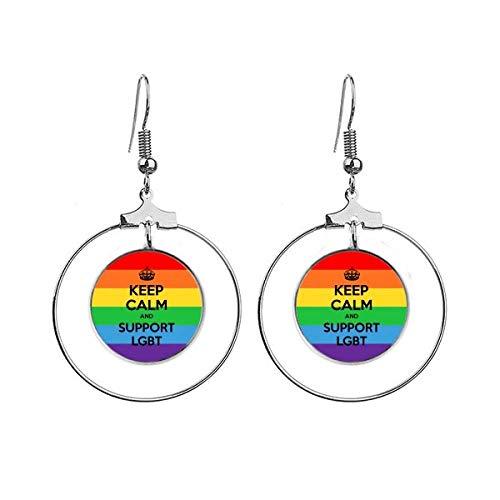 Gay Lesbische Transgender Biseksuelen Vlag LGBT Oorbellen Dangle Hoop Sieraden Drop Cirkel