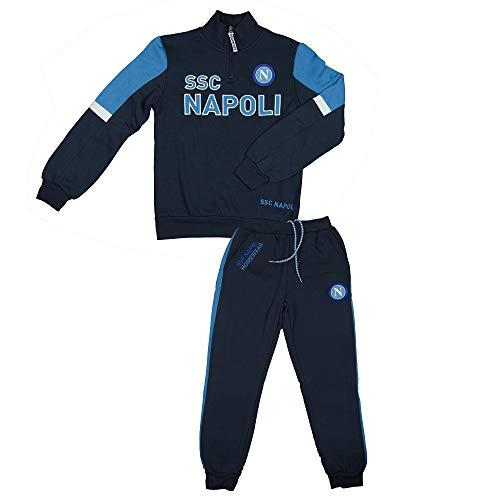 SSC Napoli Tuta Felpata Mezza Zip Ragazzo N90703 (11/12 Anni, Blu)