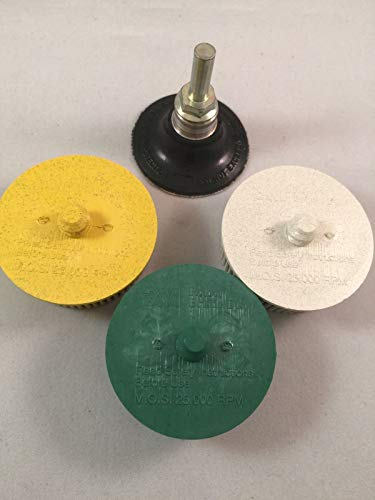 """3M Bristle Disc 2"""" Combo kit with Mandrel 50,80 and 120 grit"""