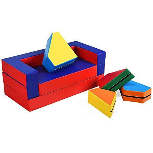 COSTWAY 4 in 1 Spielsofa, Kindersofa, Kindermöbel vielseitig, Kinderstuhl platzsparend, Bausteine, Sitzgruppe, Puzzlemöbel, Spielmatratze, Sofa